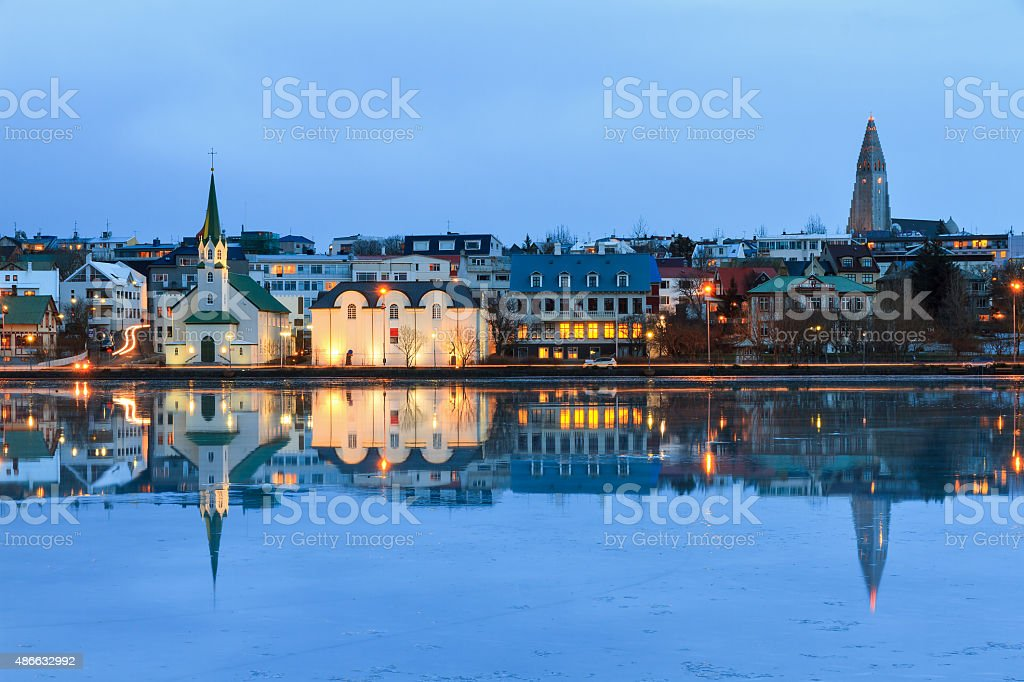 Churches reflection Iceland stock photo