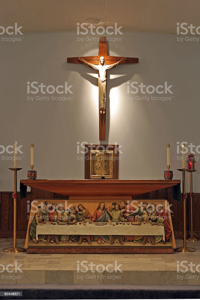 Churches - St Michael - Altar and Crucifix royalty-free stock photo