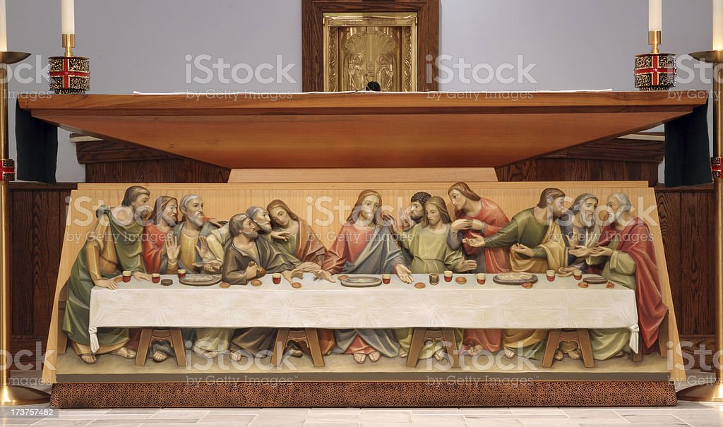 Churches - St Michael - Altar and Last Supper stock photo