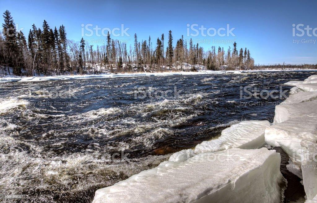 Churchill River in Winter stock photo