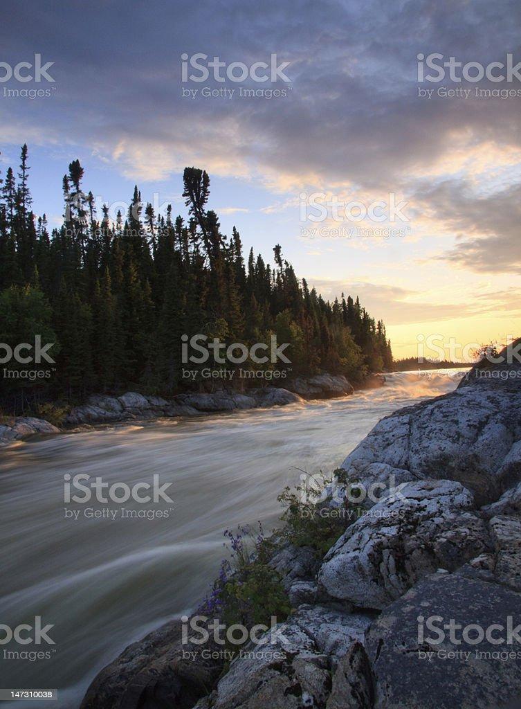 churchill river sundown stock photo