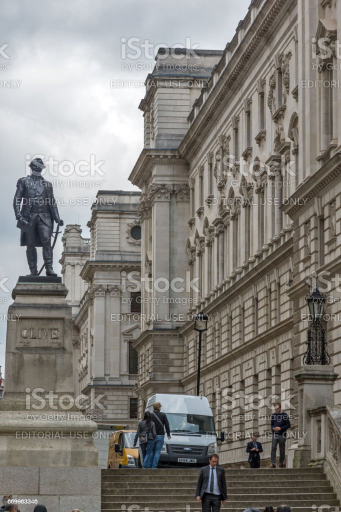 Churchill War Rooms and Robert Clive Memorial seen from King Charles street in London, England, Great Britain stock photo