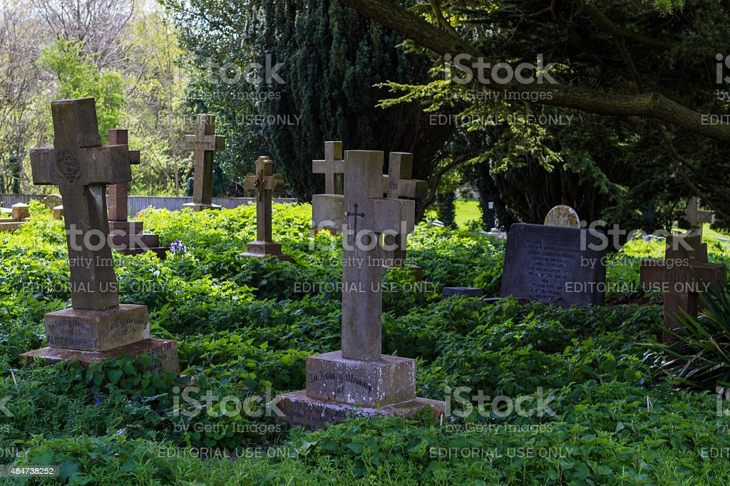 Churchyard of Anglican Holy Trinity Church in Old Wolverton, Mil stock photo