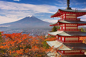 Chureito pagoda and Mount Fuji, Japan in autumn