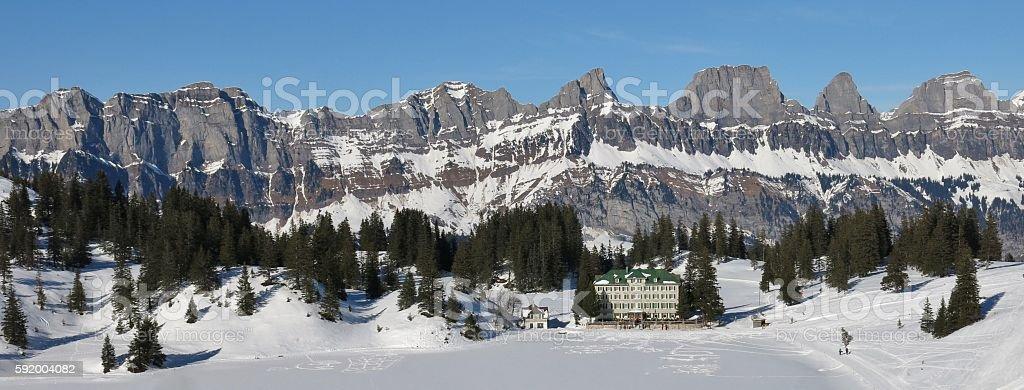 Churfirsten Range on a sunny winter day stock photo