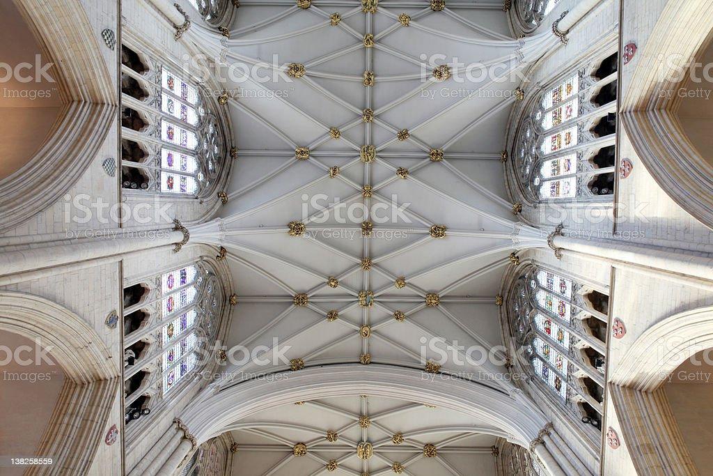 churh in england interior, york minster ornate ceiling royalty-free stock photo