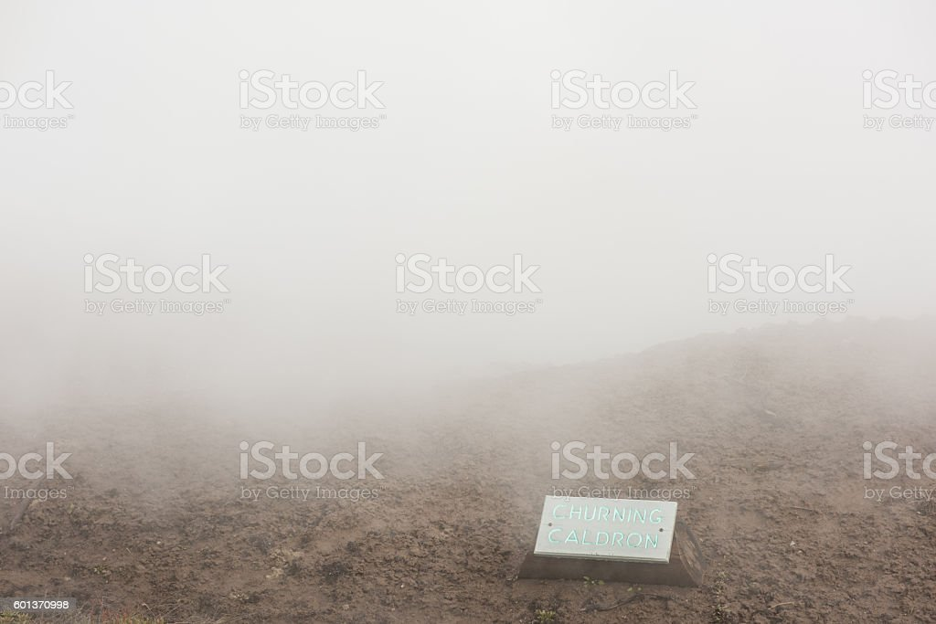 Churning cauldron text and sign in Yellowstone National Park stock photo