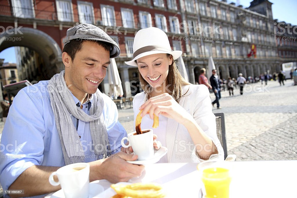 Churros and chocolate for tourists in Plaza Mayor stock photo