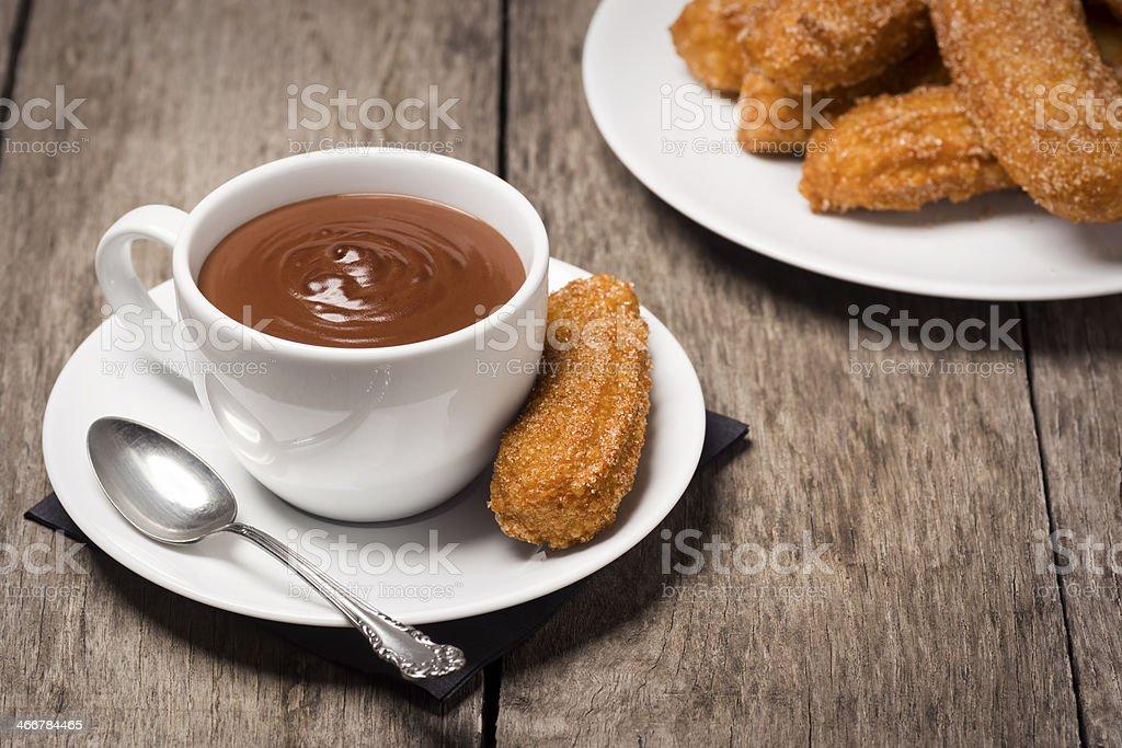 Churros and Chocolate royalty-free stock photo