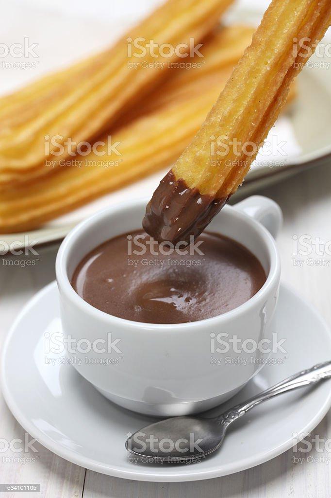 churros and hot chocolate, spanish breakfast stock photo