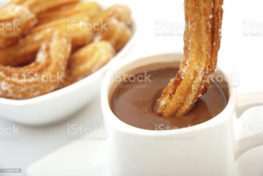 Churros wih chocolate stock photo