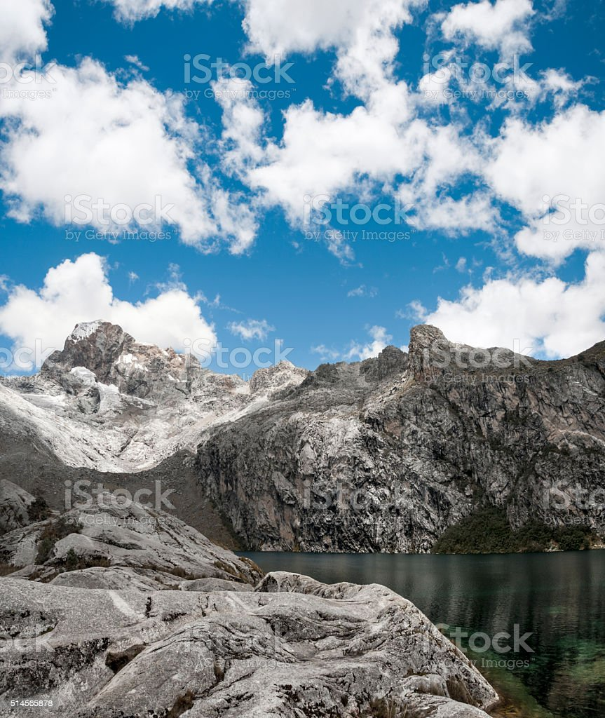 Churup Mountain And Churup Lagoon Near Huaraz, Peru stock photo