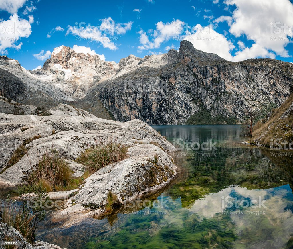 Churup Mountain And Churup Lagoon Near Huaraz, Peru stock photo