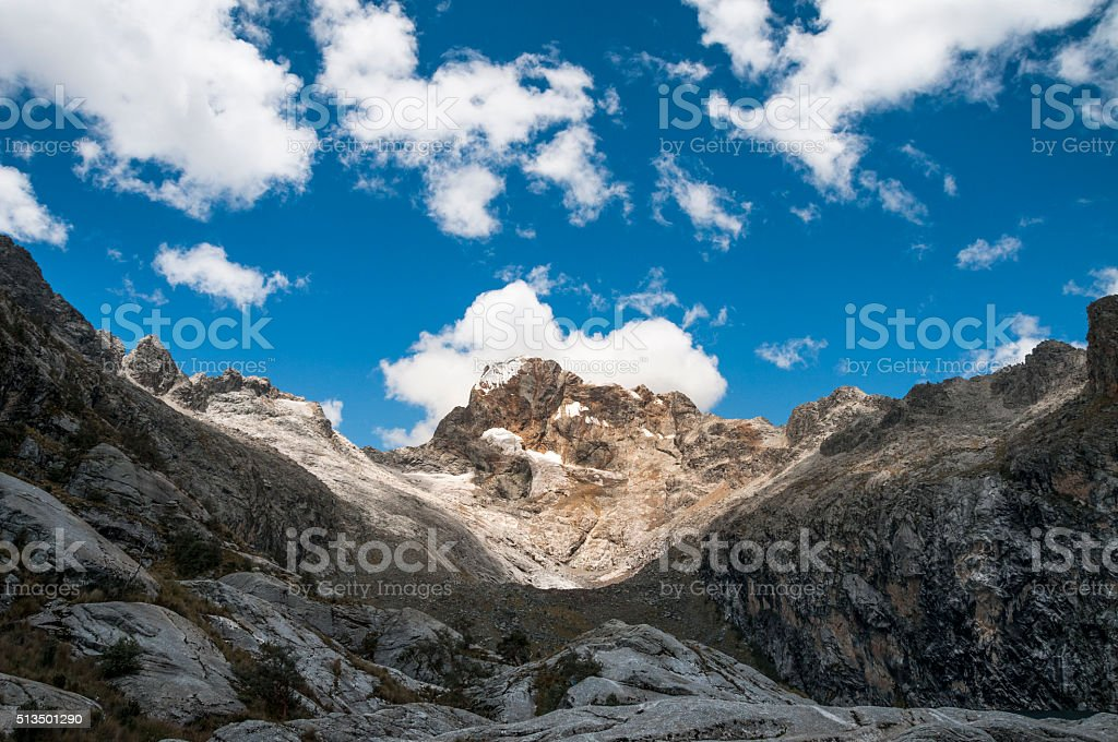 Churup Mountain In Cordillera Blanca Region Of The Andes, Peru stock photo