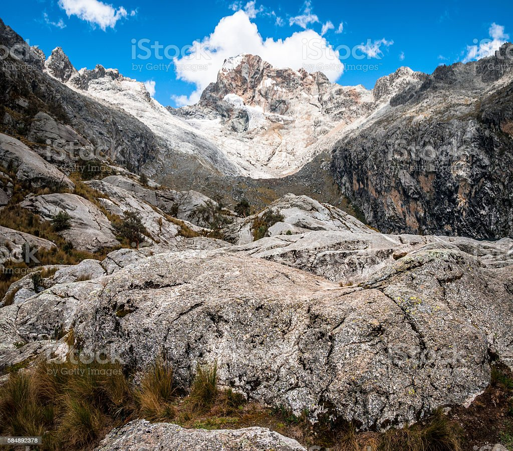 Churup Mountain In Cordillera Blanca Region Of The Andes, Peru stock photo