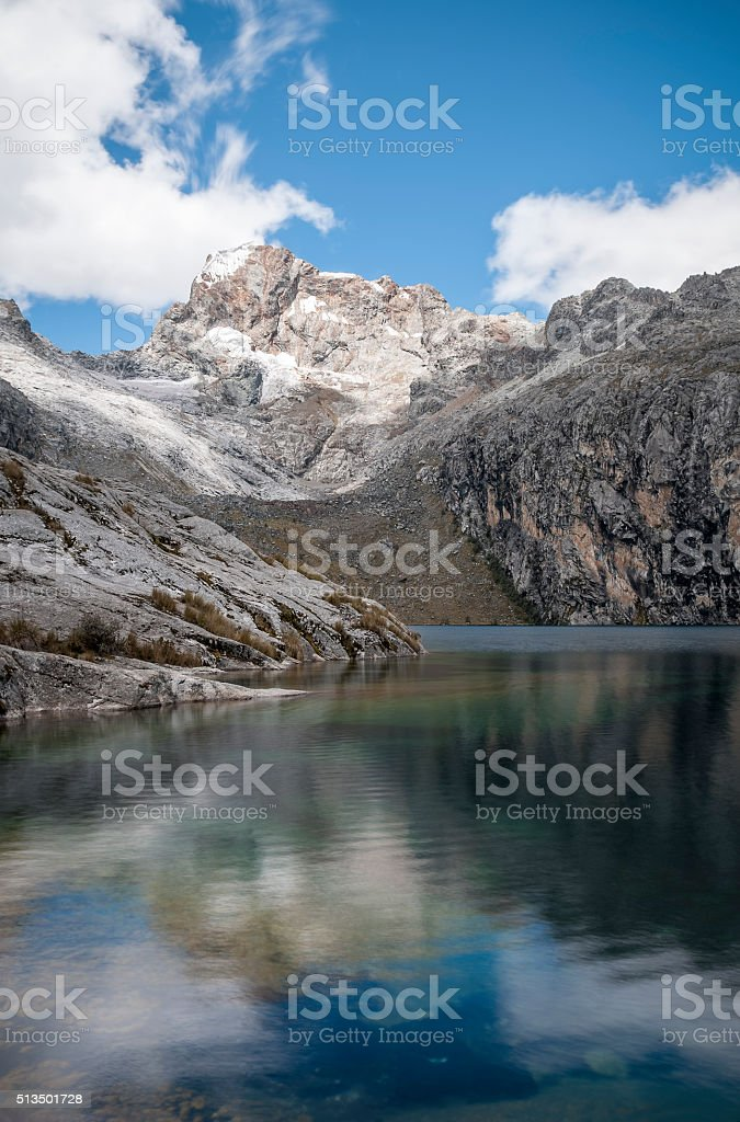 Churup Mountain Reflected In Churup Lagoon Near Huaraz, Peru stock photo