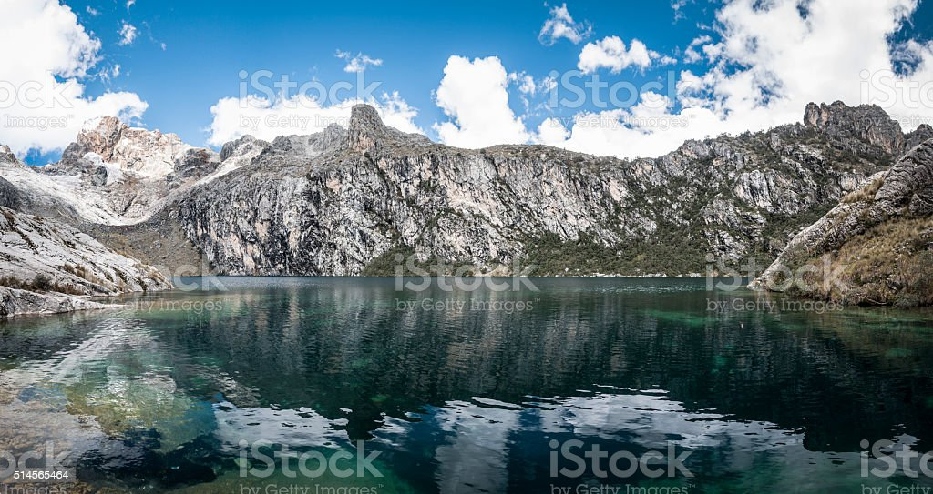 Churup Mountain Reflected In Churup Lagoon Near Huaraz, Peru stock photo