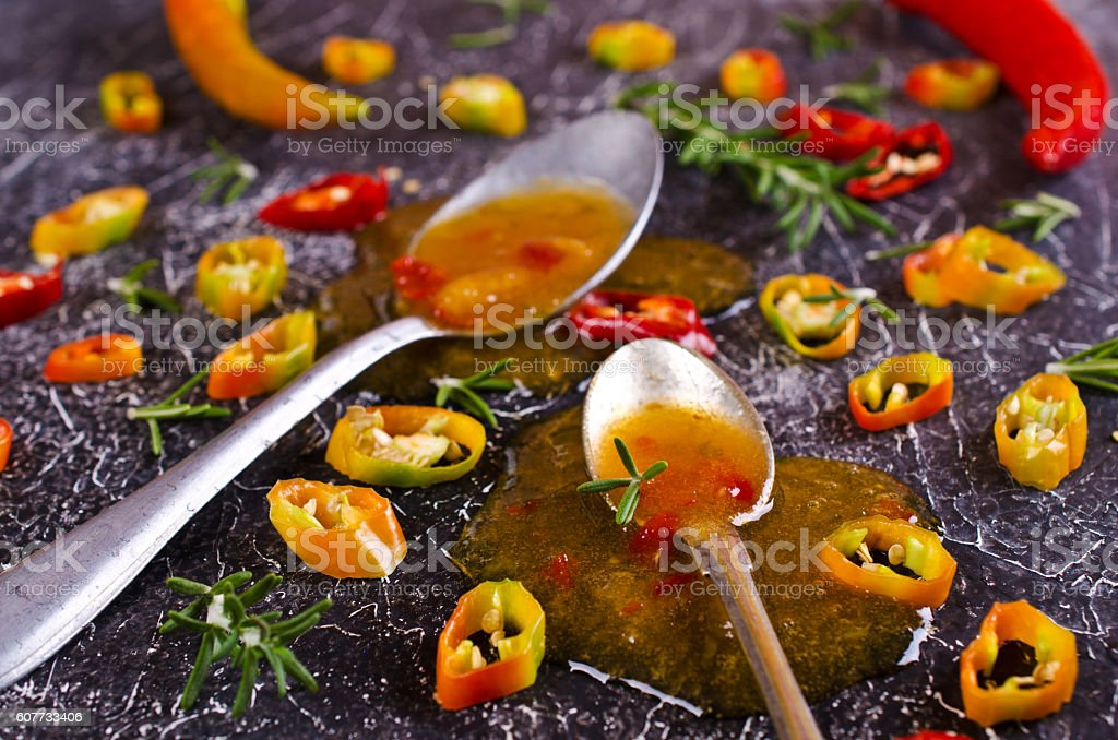 Chutney of apples and hot peppers stock photo