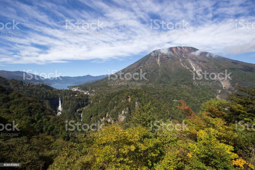 Chuzen-ji Lake,Kegon-no-taki Falls,Mt. Nantai seen from Akechi-daira Ropeway stock photo