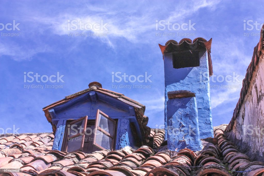 chymeneys of a colonial house. La Candelaria, Bogota, Colombia. stock photo