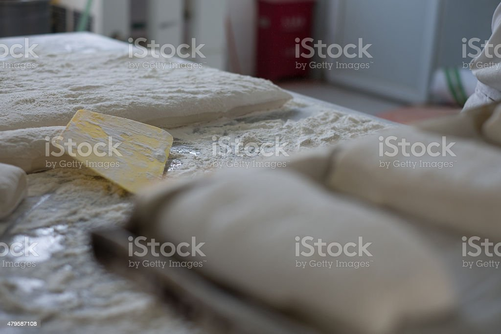 Ciabatta Bread Dough Flat with Yellow Cutter stock photo
