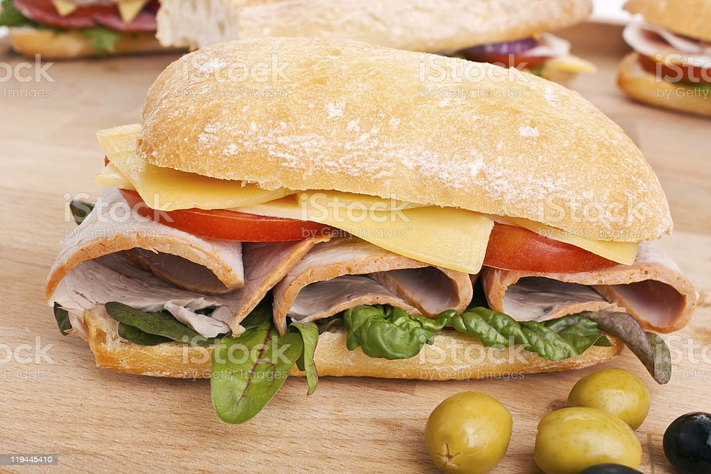 Ciabatta bread sandwich royalty-free stock photo