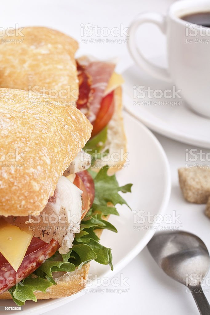 Ciabatta bread sandwiches and coffee royalty-free stock photo