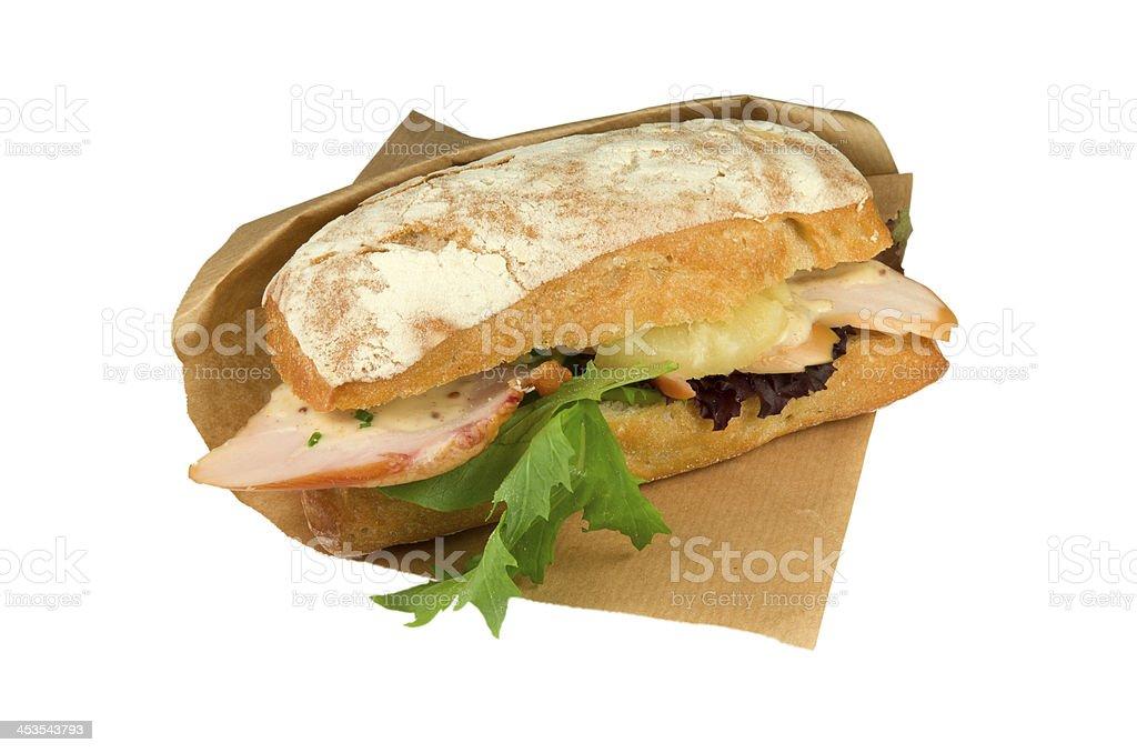 チャバタのパンの鶏胸肉のスモークとパイナップル。 ロイヤリティフリーストックフォト
