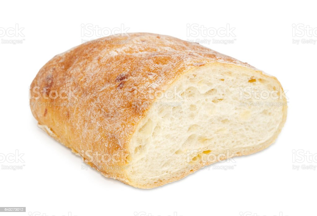 Ciabatta closeup on a light background stock photo