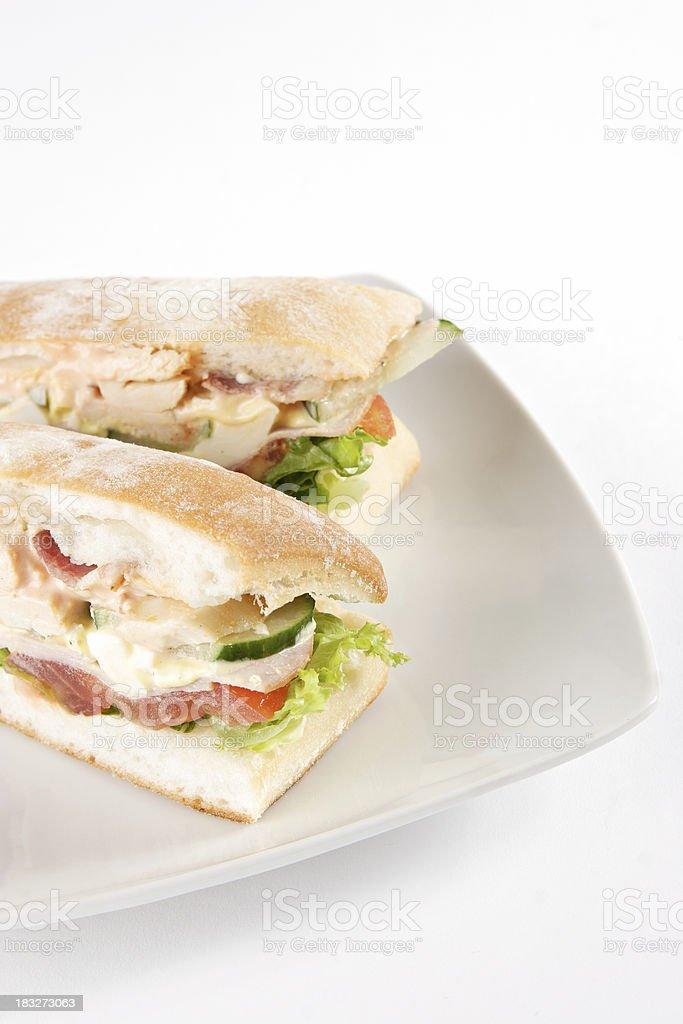 Ciabatta Club Sandwich royalty-free stock photo