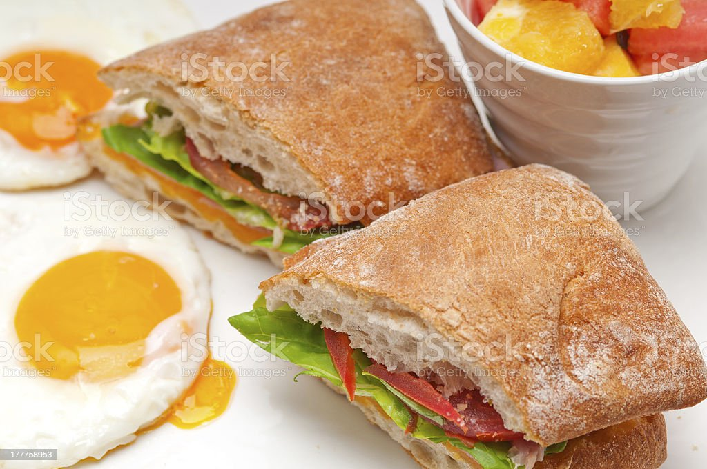 ciabatta panini sandwich eggs tomato lettuce royalty-free stock photo
