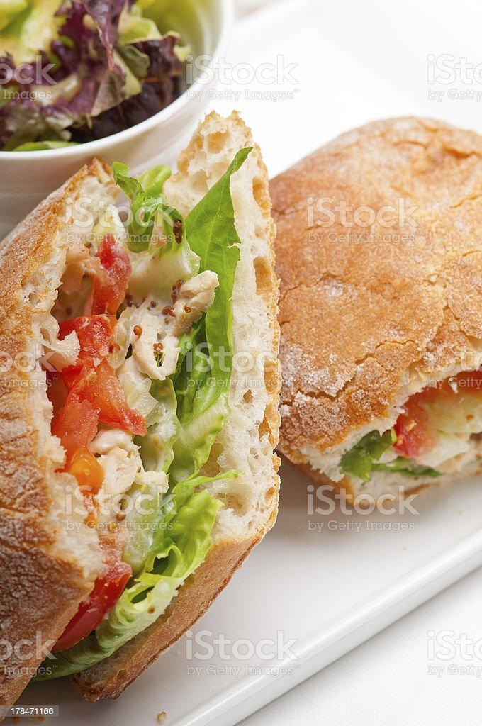 ciabatta panini sandwich with chicken and tomato royalty-free stock photo