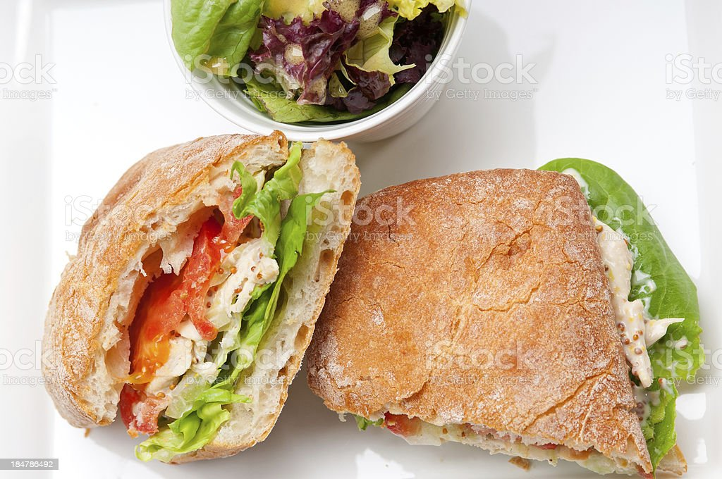 ciabatta panini sandwich with chicken and tomato royalty-free stock photo