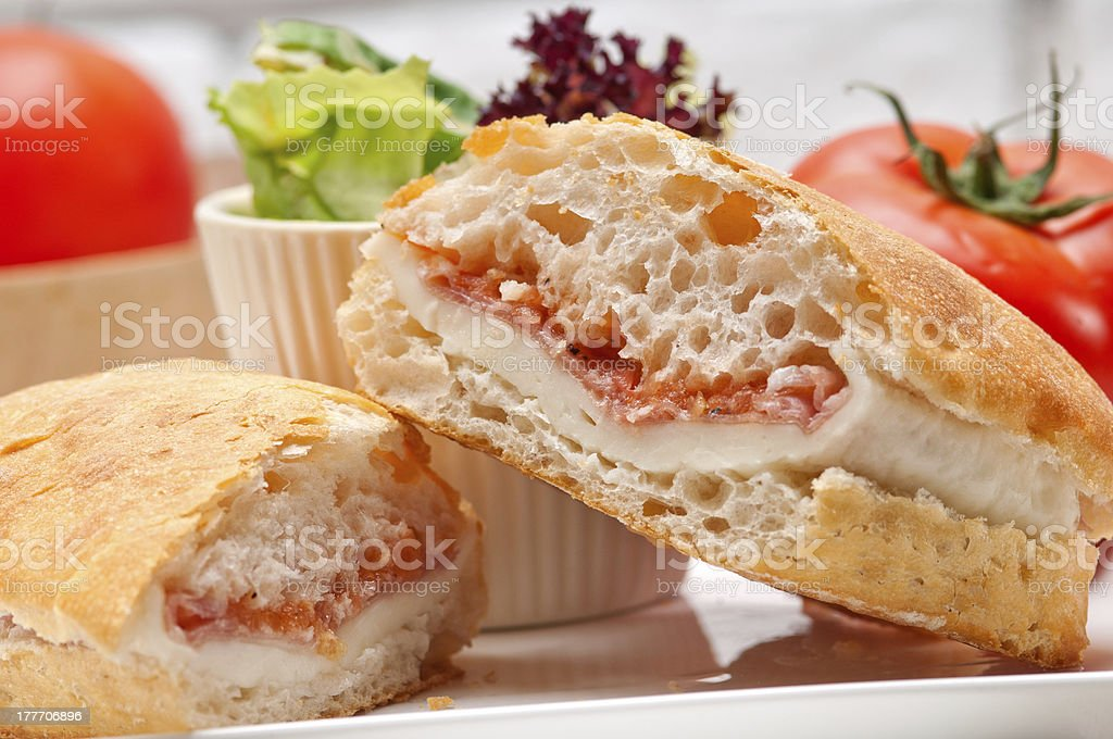 ciabatta panini sandwich with parma ham and tomato royalty-free stock photo