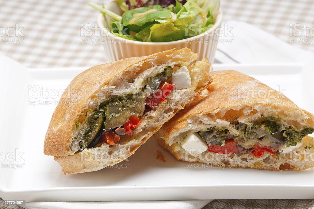 ciabatta panini sandwichwith vegetable and feta royalty-free stock photo