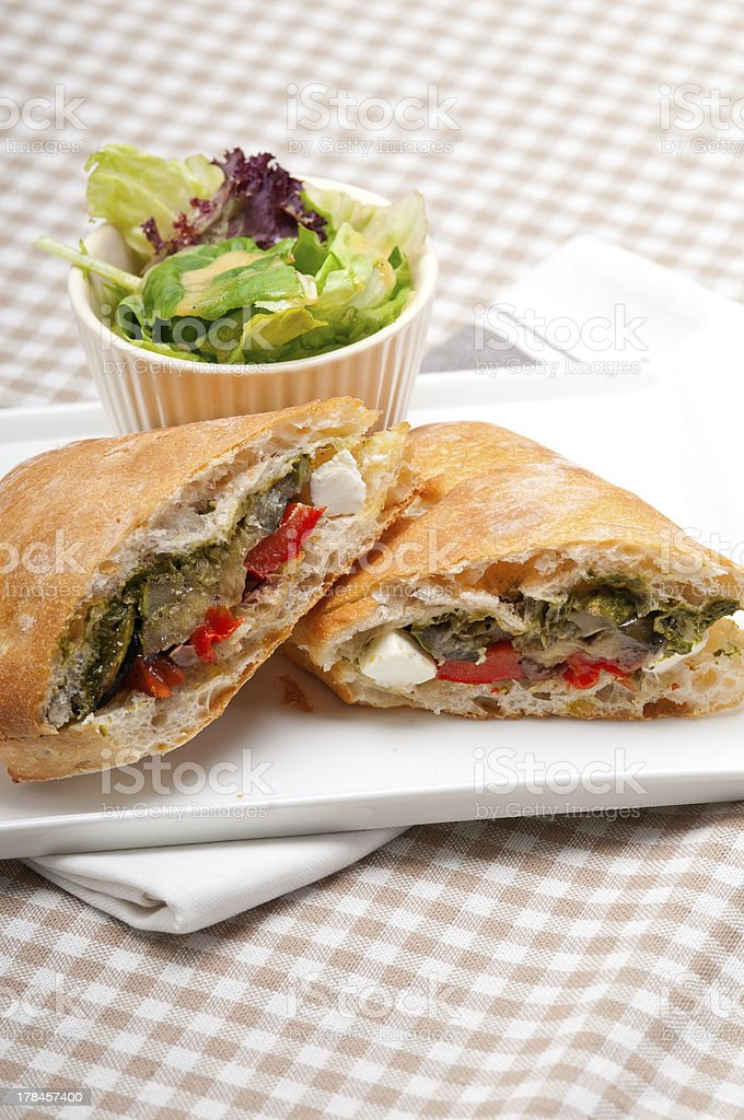 ciabatta panini sandwichwith vegetable and feta royalty-free stock photo