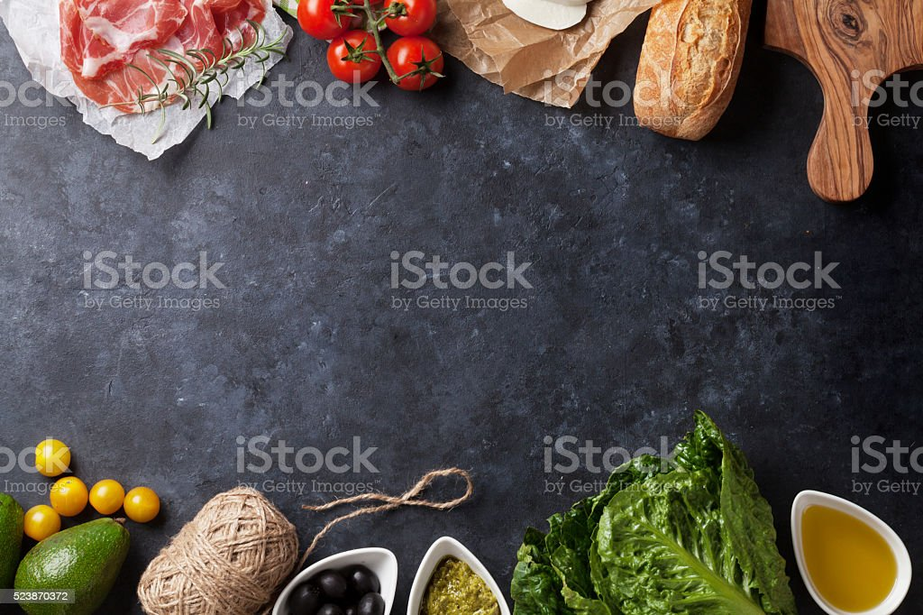 Ciabatta sandwich cooking stock photo