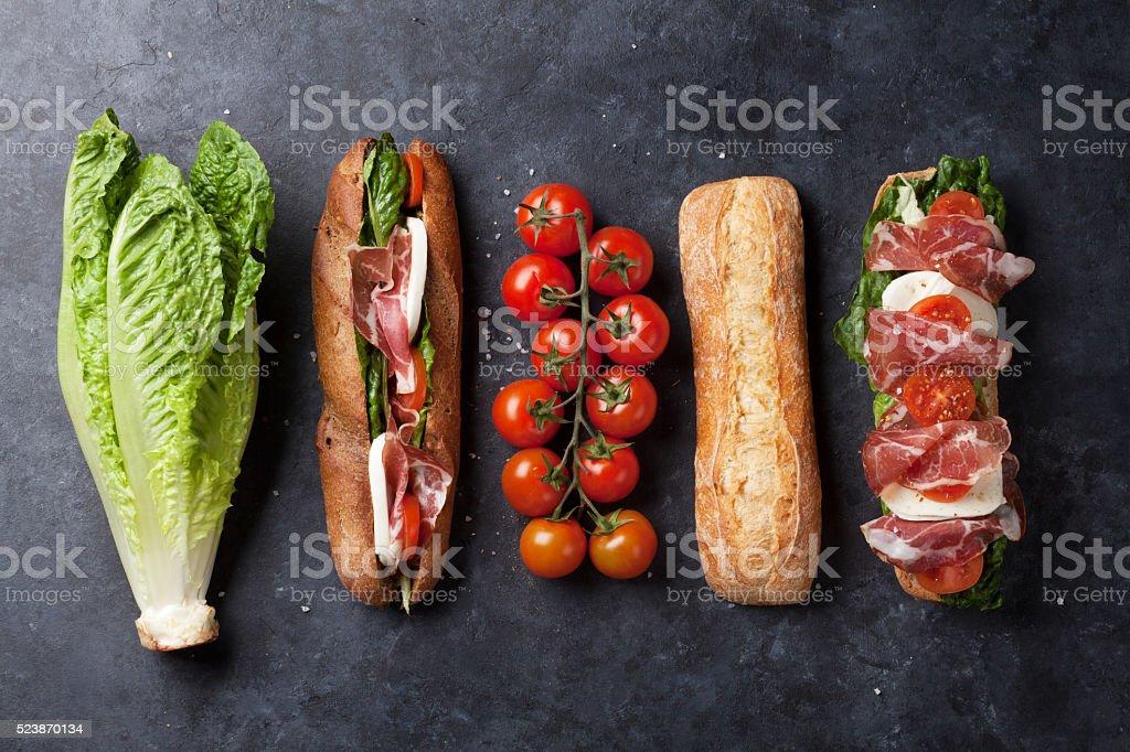 Ciabatta sandwich stock photo