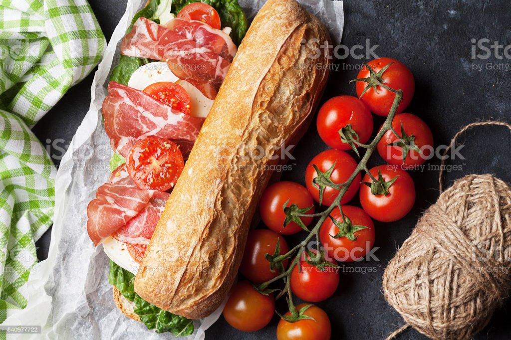 Ciabatta sandwich with salad, prosciutto and mozzarella stock photo