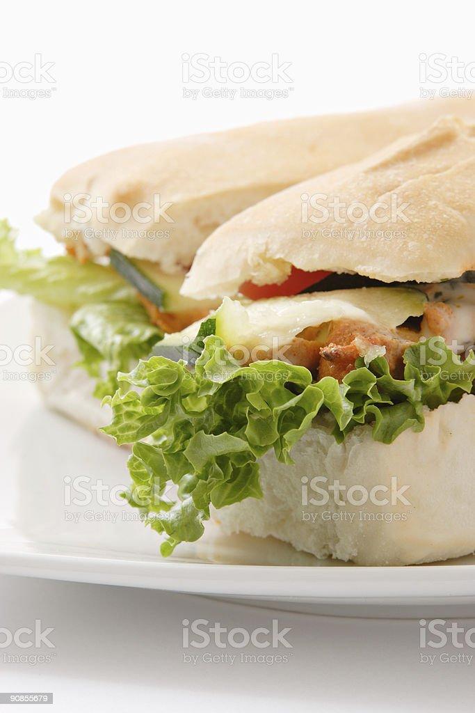 Ciabatta Tandoori Chicken Sandwich royalty-free stock photo