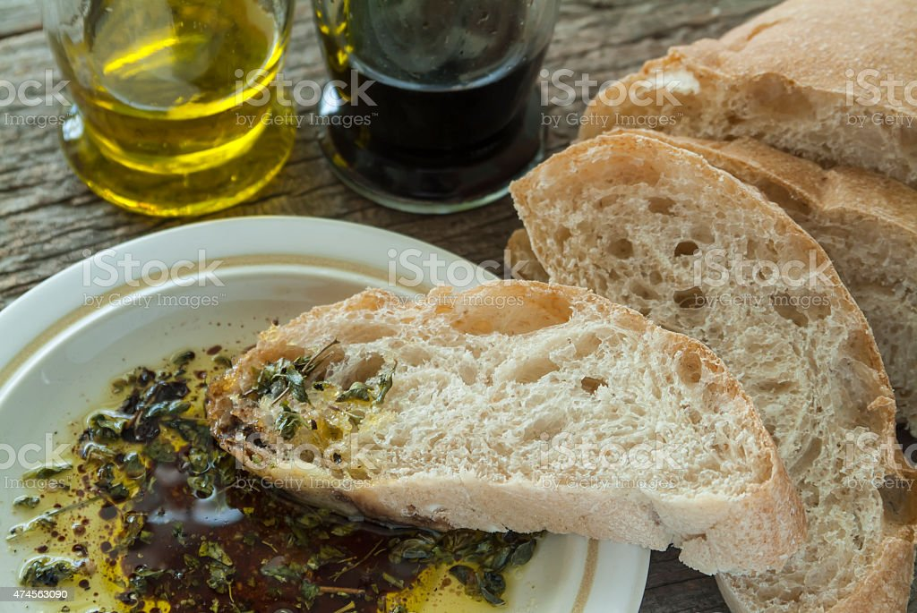 Ciabatta with Oil and Balsamic stock photo