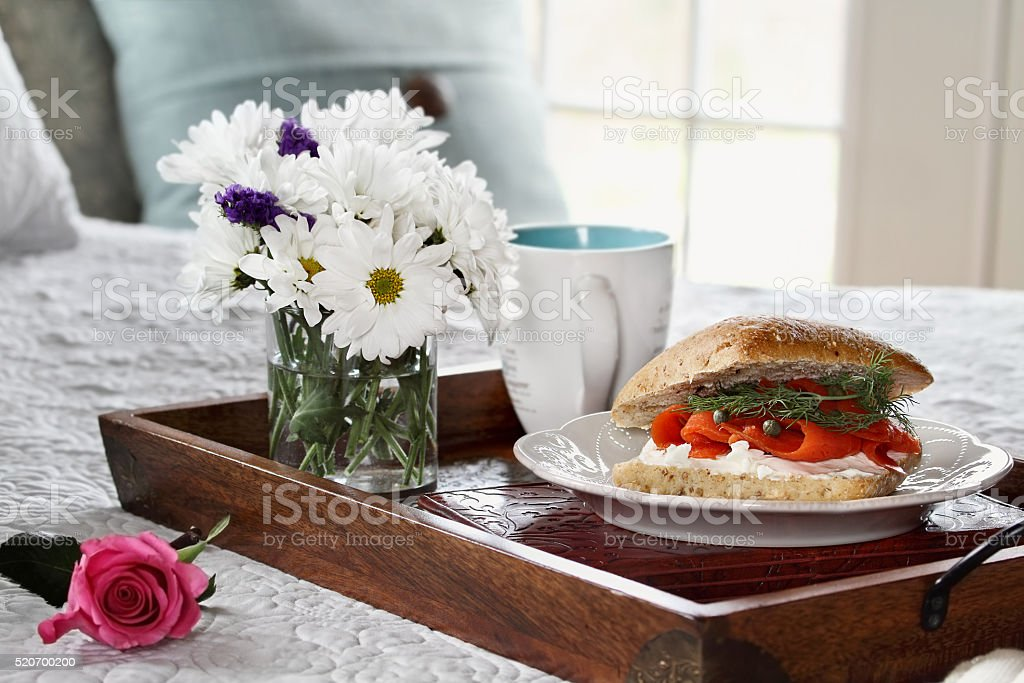 Ciabatta with Salmon Breakfast in Bed stock photo