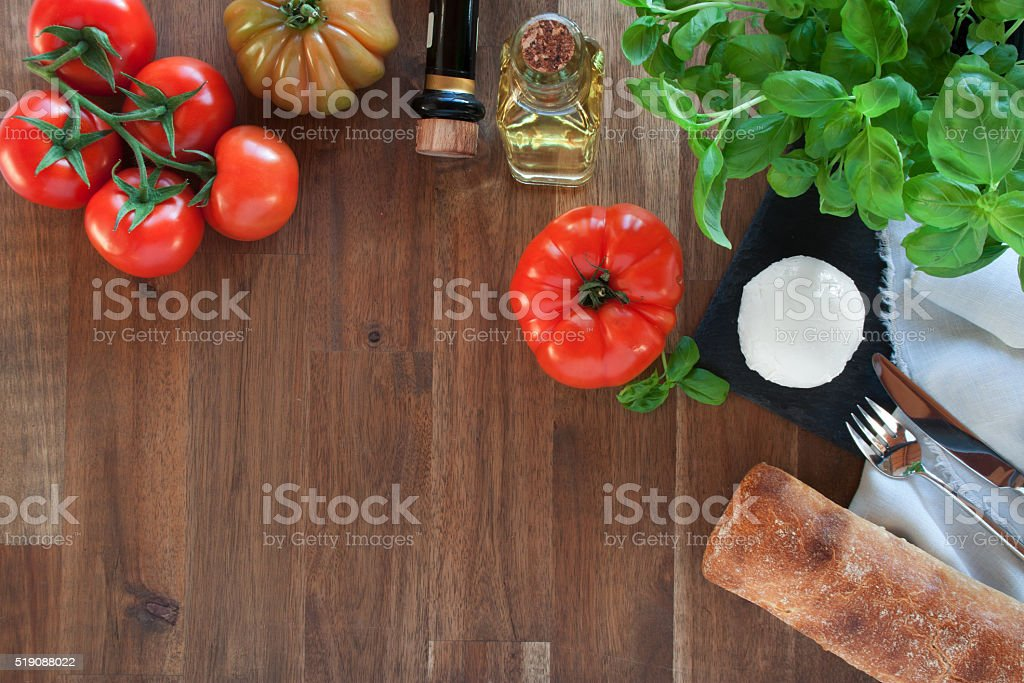 Ciabatta with tomatoes and mozzarella stock photo