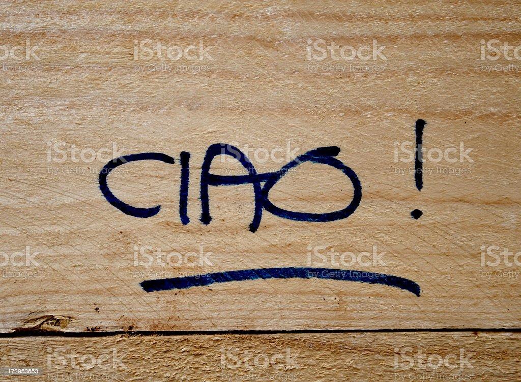Ciao written on wood stock photo
