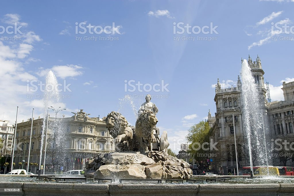 Cibeles Fountain at 0 degrees angle stock photo