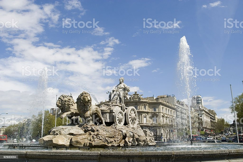 Cibeles Fountain at 20 degrees angle stock photo