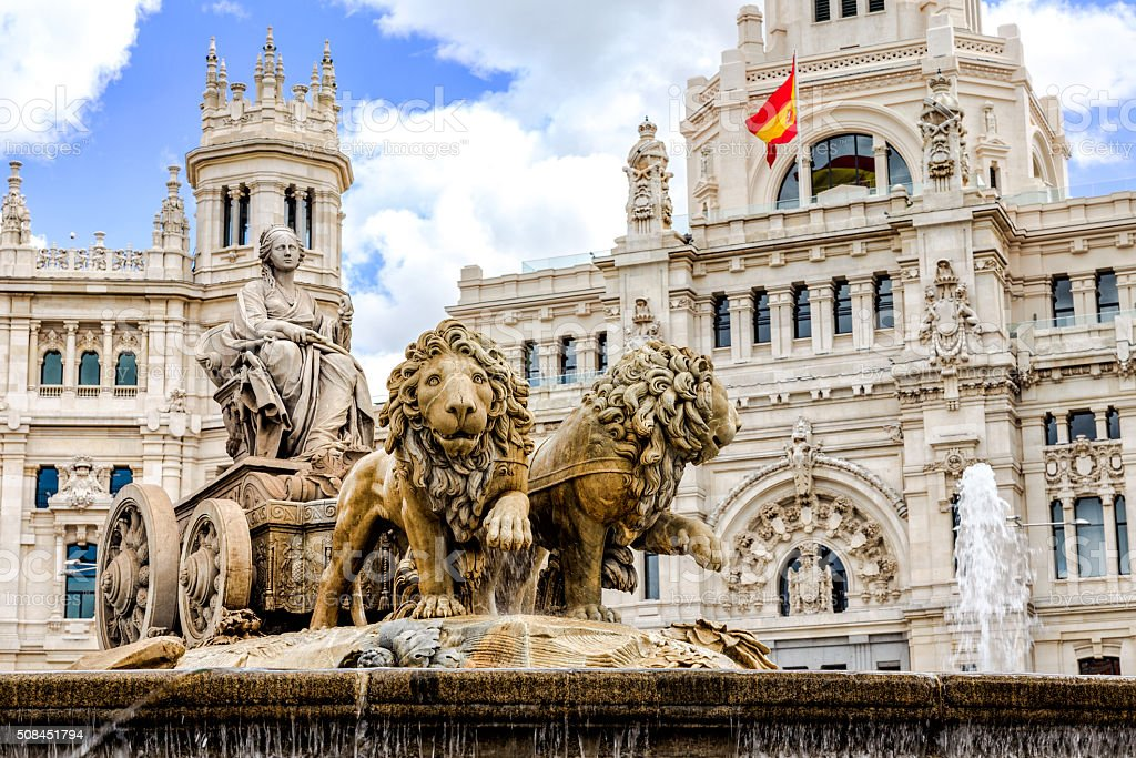 Cibeles fountain at Plaza de Cibeles in Madrid stock photo