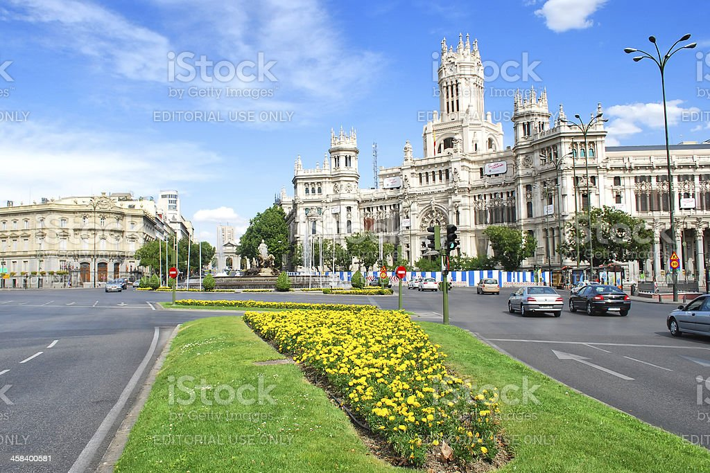 Cibeles square in Madrid stock photo