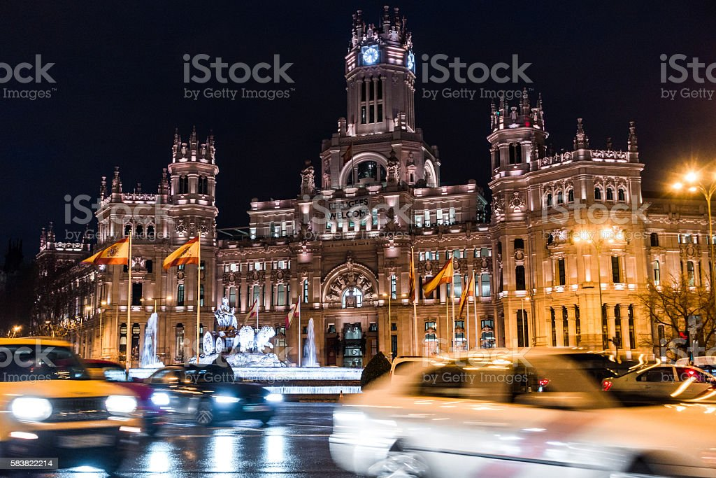 cibeles town hall ayuntamiento madrid cars blur motion night stock photo