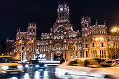 cibeles town hall ayuntamiento madrid cars blur motion night